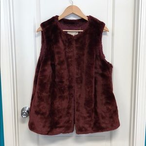 Micheal Kors Burgundy Plush Vest